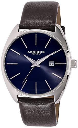 アクリボスXXIV 腕時計 メンズ 【送料無料】Akribos XXIV Men's Sunray Dial Watch - Tonneau Shaped With Date Window On Genuine Leather Strap - AK945アクリボスXXIV 腕時計 メンズ