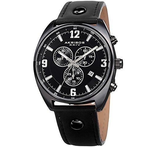 アクリボスXXIV 腕時計 メンズ Akribos XXIV Men's Leather Watch - Black Strap and Dial - Multifunction, Chronograph, Swiss Quartz - Casual Designer Wristwatch - AK969BKアクリボスXXIV 腕時計 メンズ