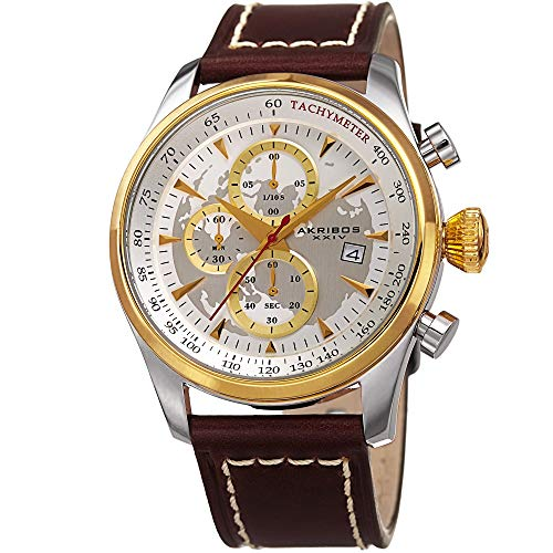 アクリボスXXIV 腕時計 メンズ Akribos XXIV Men's Sport Quartz Chronograph Watch - White and Silver World Map Dial - Featuring a Dark Brown Leather Strap - [ AKN915YG ]アクリボスXXIV 腕時計 メンズ