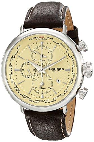 アクリボスXXIV 腕時計 メンズ Akribos XXIV Men's AK629SS Explorer World Time Alarm Stainless Steel Cream Dial Brown Leather Strap WatchアクリボスXXIV 腕時計 メンズ