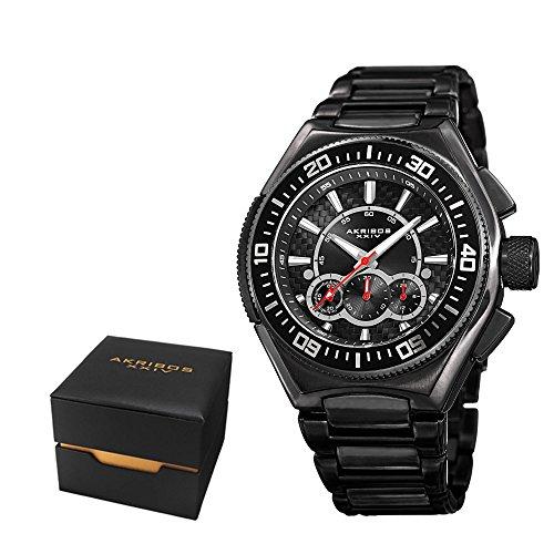 アクリボスXXIV 腕時計 メンズ Akribos XXIV Men's Casual Quartz Chronograph Watch - Black Sunburst Dial - Featuring a Black Steel Bracelet - [ AKN910BK ]アクリボスXXIV 腕時計 メンズ