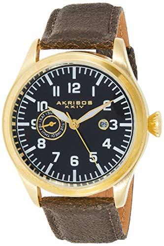 アクリボスXXIV 腕時計 メンズ 【送料無料】Akribos XXIV Men's Swiss Watch- Multifunction Day, Date Indications with Date Window On Genuine Rustic Leather Strap - AK785アクリボスXXIV 腕時計 メンズ