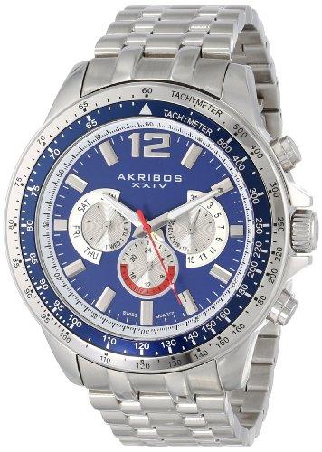 アクリボスXXIV 腕時計 メンズ 【送料無料】Akribos XXIV Men's 'Grandiose' Swiss Quartz Multifunction Diver Watch - 3 Subdials, Day, Date and GMT On Stainless Steel Bracelet - AK653アクリボスXXIV 腕時計 メンズ