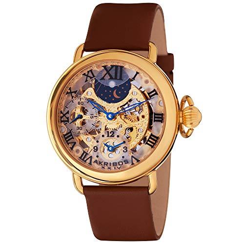 Gold-Tone XXIV アクリボスXXIV メンズ 【送料無料】Akribos Watch腕時計 腕時計 AKR451YG Skeleton Dual Mechanical メンズ アクリボスXXIV Time Bravura Men's
