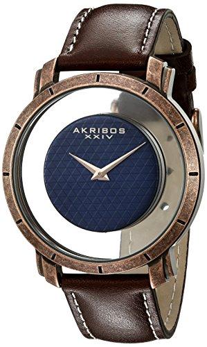アクリボスXXIV 腕時計 メンズ Akribos XXIV Men's Unique See Thru Dial Checkered Dial - On Genuine Leather Strap- AK856アクリボスXXIV 腕時計 メンズ