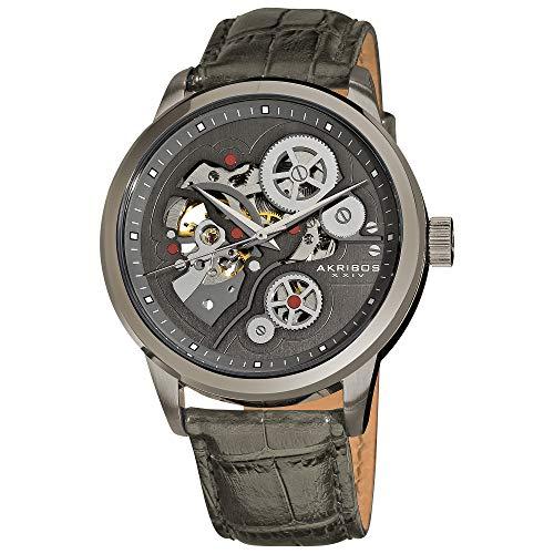 アクリボスXXIV 腕時計 メンズ Akribos XXIV Men's Skeleton Watch - Mechanical Automatic Dial On Grey Bezel and Alligator Embossed Genuine Grey Leather Strap - AK538アクリボスXXIV 腕時計 メンズ