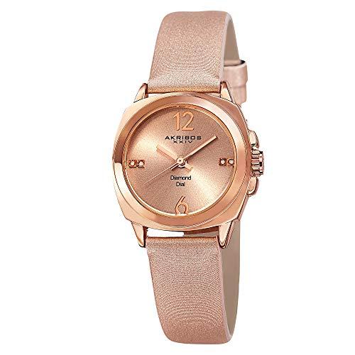 アクリボスXXIV 腕時計 レディース 【送料無料】Akribos XXIV Women's Genuine Diamond Watch - Swiss Quartz Movement On Sunburst Effect Dial With Satin Over Nubuck Leather Strap - AK742アクリボスXXIV 腕時計 レディース