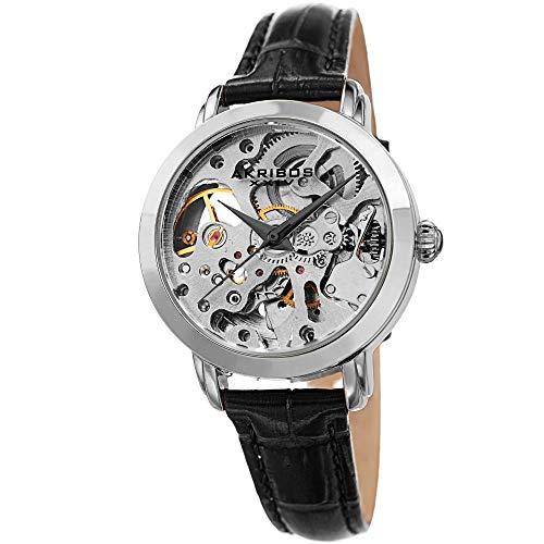 アクリボスXXIV 腕時計 レディース Akribos XXIV Skeleton Women's Watch ? See Through Dial with Automatic Movement ? Genuine Leather Crocodile Band, Casual Black Skinny Strap ?AK1037SSBKアクリボスXXIV 腕時計 レディース