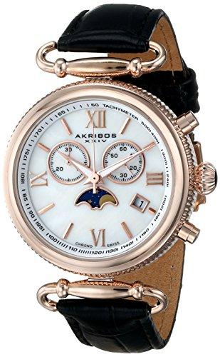 アクリボスXXIV 腕時計 レディース 【送料無料】Akribos Multifunction Swiss Chronograph Watch - Sub-dial Complications Women's Watch - Mother of Pearl Dial and Leather Calfskin Strap - AK754アクリボスXXIV 腕時計 レディース