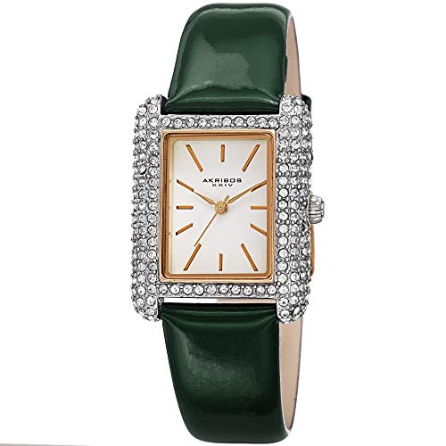 アクリボスXXIV 腕時計 レディース Akribos Swarovski Crystal & Diamond Accented Leather Strap Women's Rectangle Watch Packed in a Beautiful Gift Box AK1068 (Green)アクリボスXXIV 腕時計 レディース