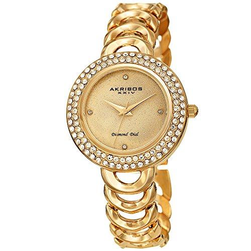 アクリボスXXIV 腕時計 レディース 【送料無料】Akribos XXIV Women's Watch ? Crystal Studded Bezel, Glitter Dial Diamond Markers, Gold Tone Stainless Steel Link Bracelet - AK1050YGアクリボスXXIV 腕時計 レディース