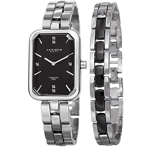 アクリボスXXIV 腕時計 レディース 【送料無料】Akribos XXIV Women's Diamond Rectangular Watch Set - Genuine Diamond Markers On Stainless Steel Watch with Matching Jewelry Bracelet - AK995アクリボスXXIV 腕時計 レディース