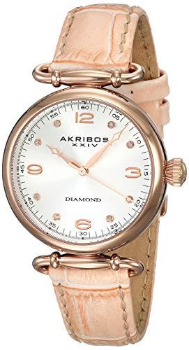 アクリボスXXIV 腕時計 レディース 【送料無料】Akribos XXIV Women's Petite Watch - Diamond Hour Markers On a Crocodile Embossed Leather Strap - AK878アクリボスXXIV 腕時計 レディース