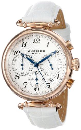 アクリボスXXIV 腕時計 レディース Akribos XXIV Women's Chronograph Watch - 3 Subdials Feature Seconds, Minutes and GMT On Embossed Alligator Pattern White Leather Strap - AK630アクリボスXXIV 腕時計 レディース