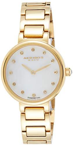 アクリボスXXIV 腕時計 レディース 【送料無料】Akribos XXIV Women's Round White Mother of Pearl Watch - 12 Diamond Hour Markers on a Stainless Steel Bracelet - AK877アクリボスXXIV 腕時計 レディース