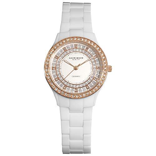 アクリボスXXIV 腕時計 レディース Akribos Women's Crystal Embellished Ceramic Silver and Rose Gold Watch - Sparkling Glitter Outer Dial On White Ceramic Bracelet - AK509アクリボスXXIV 腕時計 レディース