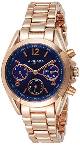 アクリボスXXIV 腕時計 レディース Akribos XXIV Women's AK809RGBU Multifunction Swiss Quartz Movement Watch with Royal Blue Dial and Rose Gold BraceletアクリボスXXIV 腕時計 レディース
