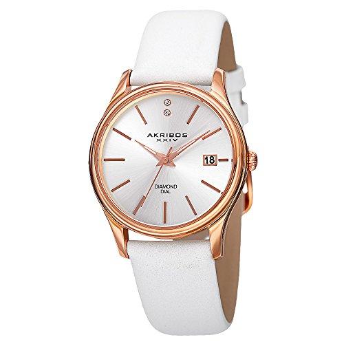 腕時計 アクリボスXXIV レディース 【送料無料】Akribos XXIV Petite Women's Diamond Accented Watch - Date Window on Genuine Leather Strap - AK879腕時計 アクリボスXXIV レディース