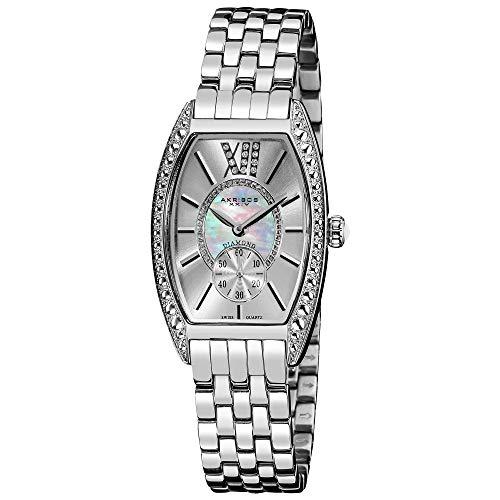 アクリボスXXIV 腕時計 レディース Akribos XXIV Women's Diamond Barrel Tonneau Watch - Mother-of-pearl and Genuine Diamonds on Silver Dial Crystal Bezel On Silver Stainless Steel Bracelet - AKR470アクリボスXXIV 腕時計 レディース