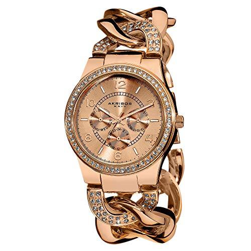 アクリボスXXIV 腕時計 レディース 【送料無料】Akribos XXIV Women's Crystal Multifunction Watch - Genuine Crystals On Bezel and Bracelet- 3 Subdials, Day, Date and GMT On Twist Chain Link Bracelet - AK558アクリボスXXIV 腕時計 レディース