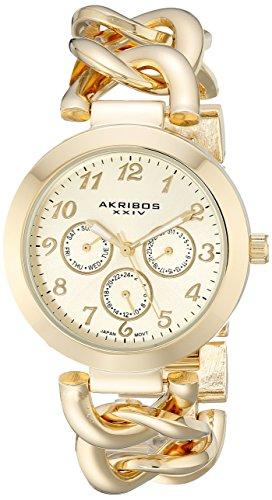 アクリボスXXIV 腕時計 レディース Akribos XXIV Women's AK644YG Ultimate Multi-Function Gold-Tone Twist Chain Link Bracelet WatchアクリボスXXIV 腕時計 レディース