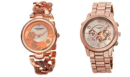 アクリボスXXIV 腕時計 レディース 【送料無料】Akribos XXIV Women's 2 Rose Gold Watch Gift Set - 1 Diamond Watch with Link Chain and 1 Multifunction Watch on Stainless Steel Bracelet - AK676アクリボスXXIV 腕時計 レディース