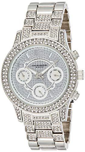 アクリボスXXIV 腕時計 レディース Akribos XXIV Women's AK776SS Crystal Encrusted Swiss Quartz Movement Watch with Silver Dial and BraceletアクリボスXXIV 腕時計 レディース