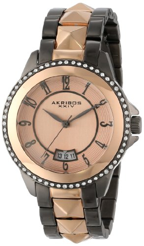 アクリボスXXIV 腕時計 レディース Akribos XXIV Women's AK654TTR Impeccable Swarovski Crystal Accented Gunmetal Rose-Tone Pyramid Stainless Steel Bracelet WatchアクリボスXXIV 腕時計 レディース