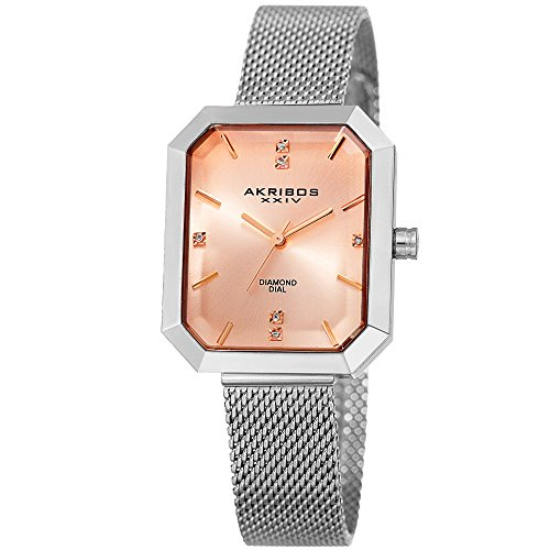 アクリボスXXIV 腕時計 レディース Akribos XXIV Women's Quartz Watch with Stainless-Steel Strap, Silver, 7 (Model: AK909SSPK)アクリボスXXIV 腕時計 レディース