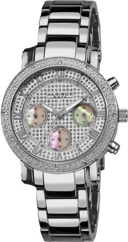 アクリボスXXIV 腕時計 レディース Akribos Women's Grandiose Dazzling Watch - 3 Mother-of-Pearl Chronograph Subdials - Diamond Chronograph Stainelss Steel Bracelet Watch - AKR440アクリボスXXIV 腕時計 レディース