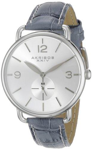 アクリボスXXIV 腕時計 レディース Akribos XXIV Women's AK658GY Essential Stainless Steel Watch with Grey Leather StrapアクリボスXXIV 腕時計 レディース