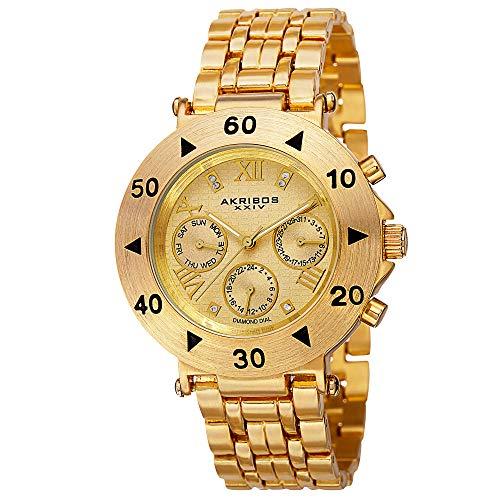 アクリボスXXIV 腕時計 レディース Akribos XXIV Women's AK686YG Conqueror Swiss Quartz Multifunction Diamond Accented Gold-tone Bracelet WatchアクリボスXXIV 腕時計 レディース