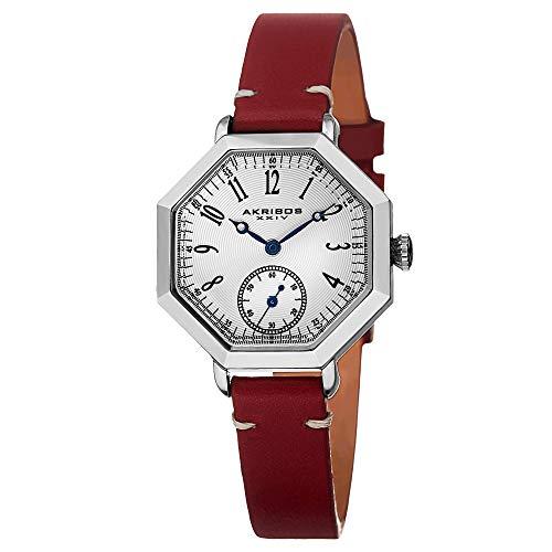 アクリボスXXIV 腕時計 レディース Akribos XXIV Octagonal Women's Watch - Textured Silver Dial Arabic Numerals, 60-Second Subdial On Burgundy Calfskin Leather Strap - AK771アクリボスXXIV 腕時計 レディース