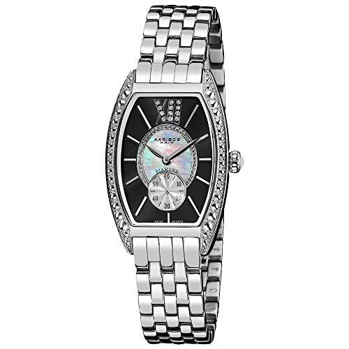 アクリボスXXIV 腕時計 レディース Akribos XXIV Women's Diamond Barrel Tonneau Watch - Mother-of-pearl and Genuine Diamonds on Black Dial Crystal Bezel On Silver Stainless Steel Bracelet - AKR470アクリボスXXIV 腕時計 レディース