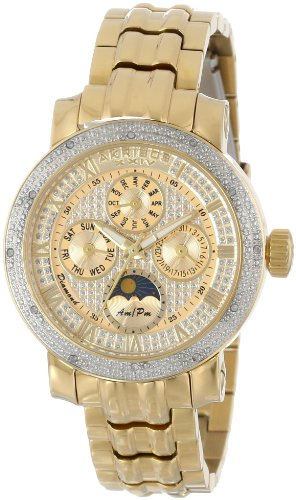 アクリボスXXIV 腕時計 レディース Akribos XXIV Women's 'Grandiose' Diamond Multifunction Watch - 4 Subdials with AM/PM Moonphase Complications On Yellow Gold Stainless Steel Bracelet - AK614アクリボスXXIV 腕時計 レディース