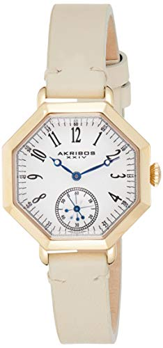 アクリボスXXIV 腕時計 レディース 【送料無料】Akribos XXIV Octagonal Women's Watch - Textured White Dial Arabic Numerals, 60-Second Subdial On Tan Calfskin Leather Strap - AK771アクリボスXXIV 腕時計 レディース