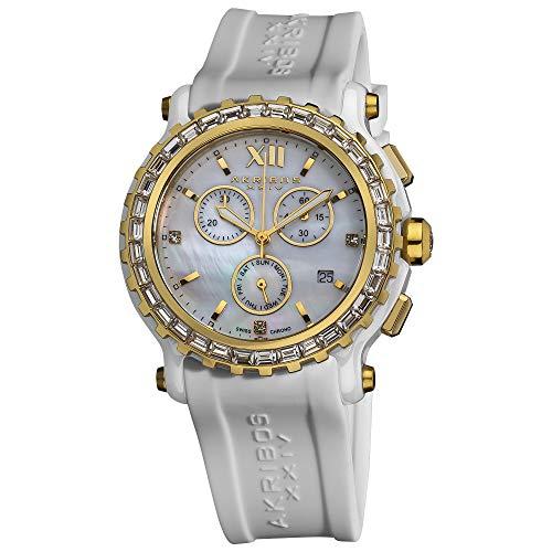 アクリボスXXIV 腕時計 レディース Akribos XXIV Women's AK545WT Swiss Quartz Chronograph Ceramic Rubber Strap WatchアクリボスXXIV 腕時計 レディース