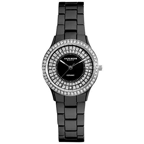 アクリボスXXIV 腕時計 レディース Akribos Women's Crystal Embellished Ceramic Silver and Black Watch - Sparkling Glitter Outer Dial On Black Ceramic Bracelet - AK509アクリボスXXIV 腕時計 レディース