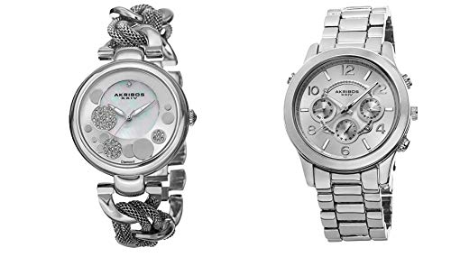 アクリボスXXIV 腕時計 レディース 【送料無料】Akribos XXIV Women's 2 Silver Watch Gift Set - 1 Diamond Watch with Link Chain and 1 Multifunction Watch on Stainless Steel Bracelet - AK676アクリボスXXIV 腕時計 レディース