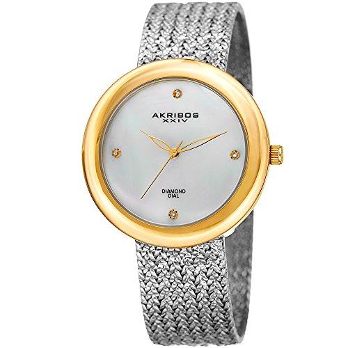 アクリボスXXIV 腕時計 レディース Akribos XXIV Women's Quartz Watch with Stainless-Steel Strap, Silver, 18 (Model: AK903TTG)アクリボスXXIV 腕時計 レディース