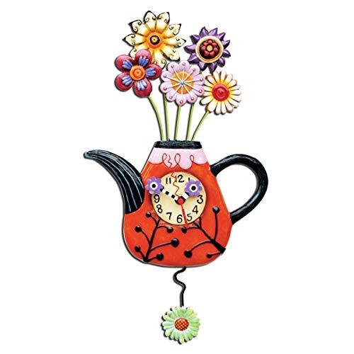 壁掛け時計 振り子時計 インテリア 海外モデル アメリカ Wall clock 'Allen Designs'multicolored (teapot flowerpot)- 43x23 cm (16.93''x9.06'').壁掛け時計 振り子時計 インテリア 海外モデル アメリカ