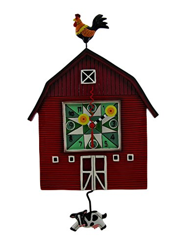 壁掛け時計 振り子時計 インテリア 海外モデル アメリカ Allen Designs Red Barn Yard Wall Clock with Cow Shaped Swinging Pendulum壁掛け時計 振り子時計 インテリア 海外モデル アメリカ