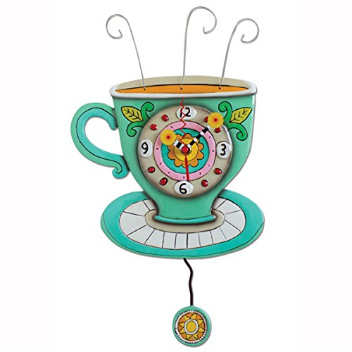 壁掛け時計 振り子時計 インテリア 海外モデル アメリカ Allen Designs Sunny Cup Hand Painted Pendulum Wall Clock壁掛け時計 振り子時計 インテリア 海外モデル アメリカ