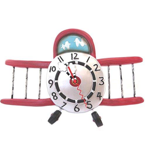 壁掛け時計 振り子時計 インテリア 海外モデル アメリカ Wall clock 'Allen Designs'silver red (glider plane)- 34.5x34 cm (13.58''x13.39'').壁掛け時計 振り子時計 インテリア 海外モデル アメリカ