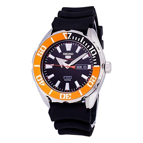 セイコー 腕時計 メンズ Seiko 5 Sports SRPC59 Men's Rubber Band Orange Bezel 100M Automatic Dive Watchセイコー 腕時計 メンズ