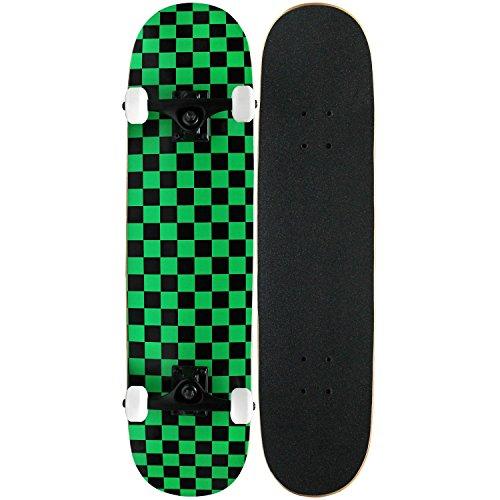 スタンダードスケートボード スケボー 海外モデル 直輸入 KPC-312 Krown PRO Skateboard Complete Pre-Built CHECKER PATTERN 7.75 in Black/Greenスタンダードスケートボード スケボー 海外モデル 直輸入 KPC-312
