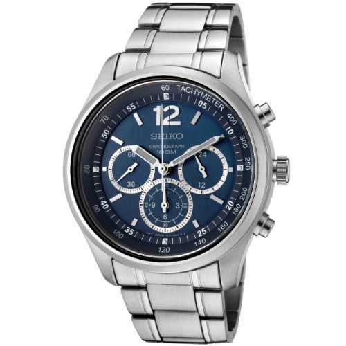セイコー 腕時計 メンズ Seiko Men's SRW009 Chronograph Blue Dial Stainless Steel Watchセイコー 腕時計 メンズ