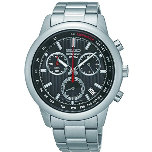 セイコー 腕時計 メンズ Seiko Men's 42mm Steel Bracelet & Case Quartz Black Dial Analog Watch SSB205セイコー 腕時計 メンズ