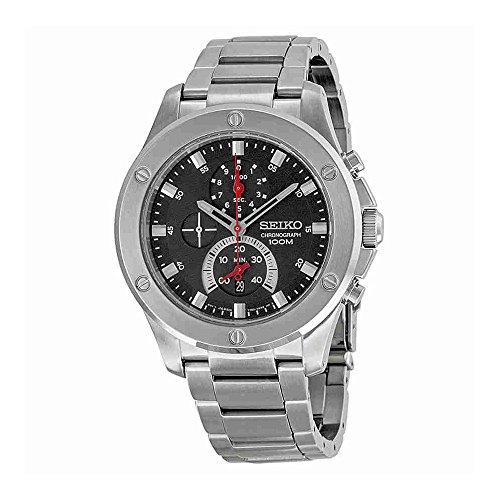 セイコー 腕時計 メンズ 【送料無料】Seiko Men's Chronograph Silver-Tone Steel Black Dialセイコー 腕時計 メンズ