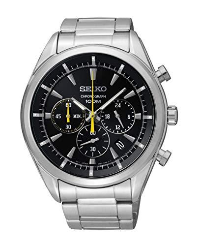 セイコー 腕時計 メンズ 【送料無料】Seiko Chronograph Black Dial Stainless Steel Mens Watch SSB087セイコー 腕時計 メンズ